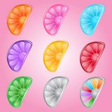 Lemon candy button glossy jelly in different color. 2d asset for user interface GUI in mobile application or casual video game. Vector for web or game design Stock Images