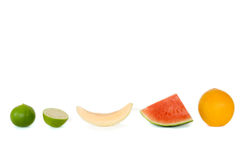 Lemon, Cantaloupe, watermelon and orange. Royalty Free Stock Image