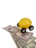 Lemon Car on Currency Royalty Free Stock Photography