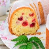Lemon and Caraway Seed Bundt Cake with Raspberries Royalty Free Stock Image