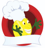 Lemon-cartoon-character-with-promo-ribbon Royalty Free Stock Photo