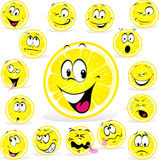 Lemon cartoon with many expressions Royalty Free Stock Photos