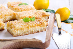 Lemon cheesecake bars Stock Images