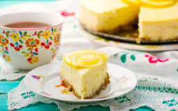 Lemon cheesecake. Slice of lemon cheesecake. selective focus stock images