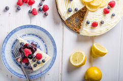 Free Lemon Cheesecake With Berries Royalty Free Stock Image - 71975696