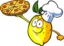 Lemon chef showing a delicious pizza Stock Image