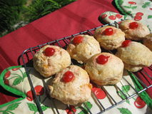 Lemon & cherry scones. Baking on the table, hot from the oven stock photo