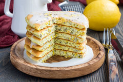 Lemon and chia seed pancakes with citrus glaze, horizontal. Homemade lemon and chia seed pancakes with citrus glaze, horizontal Royalty Free Stock Photography