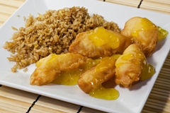 Lemon Chicken And Fried Rice Stock Image