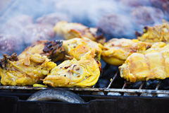 Lemon chicken on barbecue Royalty Free Stock Images