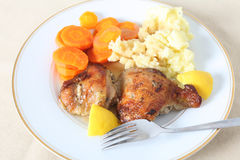 Lemon chicken meal on plate Stock Photography