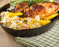 Lemon chicken with rice and roasted corn Stock Photography