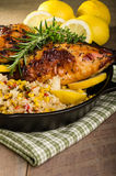 Lemon chicken with rice and roasted corn Royalty Free Stock Images