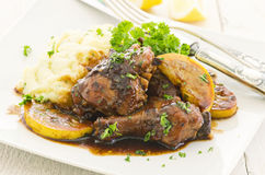 Lemon Chicken with Soy Sauce and Potato Stock Images