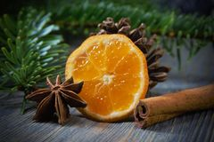 Lemon, cinnamon and badian next to pine branch. Piece of lemon, cinnamon and badian star anise next to pine branch and conifer cone, sitting on wooden table royalty free stock photo