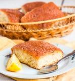 Lemon cinnamon buns on a white background Stock Photos