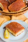 Lemon cinnamon buns on a white background Royalty Free Stock Photos