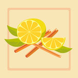Lemon and cinnamon Stock Photography