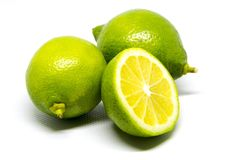 Green lemon. The lemon, Citrus limon L. Osbeck, is a species of small evergreen tree in the flowering plant ... There is also a pink-fleshed Eureka lemon, with a Royalty Free Stock Photo