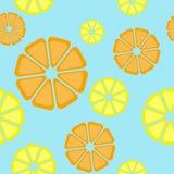 Lemon citrus pattern. Simple vector illustration. Lemon citrus pattern.Fruits pattern. Hand drawn seamless vector pattern. Engraving sketch illustration on blue Royalty Free Stock Photos