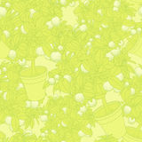 Lemon citrus tree in pot. Wallpaper seamless pattern. Stock Photography