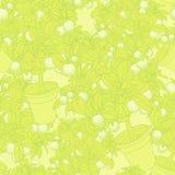 Lemon citrus tree in pot. Wallpaper seamless pattern. Stock Photography