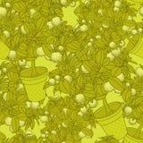 Lemon citrus tree in pot. Wallpaper seamless pattern. Royalty Free Stock Photography