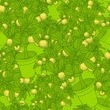Lemon citrus tree in pot. Wallpaper seamless pattern. Royalty Free Stock Photo