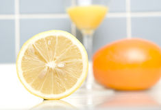 A Lemon On Closeup. In The Kitchen Royalty Free Stock Photo