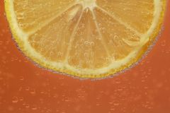 Lemon in closeup on a orange background Royalty Free Stock Photography