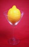 Lemon in cocktail glass Stock Photo