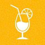 Lemon cocktail icon. On yellow background Royalty Free Stock Photography