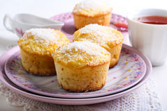 Lemon and coconut cakes Stock Photos