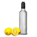 Lemon and cold bottle vodka Stock Photo