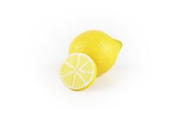 Lemon with colored wooden slice. For decoration Stock Photos