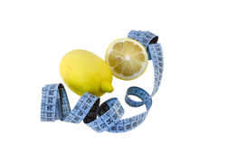 Lemon composition and blue centimeter Stock Photography