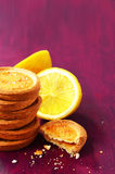 Lemon cookies with empty space on deep lilac background Royalty Free Stock Image