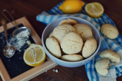 Lemon cookies in plate, biscuit Shortbread Royalty Free Stock Image