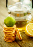 Lemon cookies with tea and mint Royalty Free Stock Photography