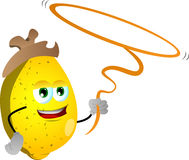 Lemon cowboy with lasso Royalty Free Stock Images
