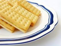 Lemon cream biscuits at tea time! Stock Photos