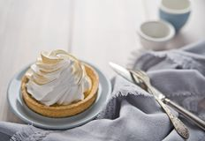 Lemon cream cake, vintage spoon and fork. Ð¡opy space stock photography