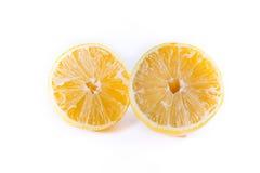 Lemon Cross Section Fruit Cut Slice Piece Texture Fresh Juicy Ye. Llow White Isolated Background Closeup Royalty Free Stock Photo