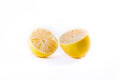 Lemon Cross Section Fruit Cut Slice Piece Texture Fresh Juicy Ye. Llow White Isolated Background Closeup Royalty Free Stock Image