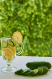 Lemon cucumber water in the glass on the blurred nature background with copy space. Summer cold cocktails with ice and cucumber. Lemon cucumber water in the Stock Image