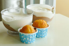 Lemon cup cake and chocolate mousse Stock Images