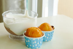 Lemon cup cake and chocolate mousse Stock Photos