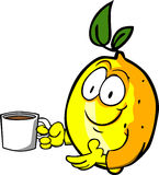 Lemon with a cup of coffee Stock Photo