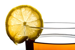 Lemon on the cup of tea Royalty Free Stock Photo