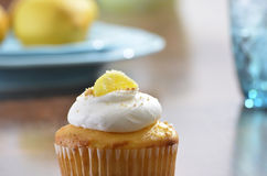 Lemon Cupcake with Whipped Cream Frosting Royalty Free Stock Images